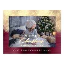 Merry Christmas Tree Happy Year Metal Gold Burgund Postcard