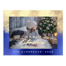 Merry Christmas Tree Happy Year Metal Gold Cobalt Postcard