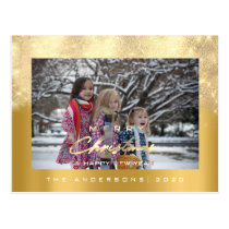 Merry Christmas Tree Happy Year Metal Gold Glitter Postcard