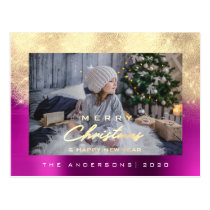 Merry Christmas Tree Happy Year Metal Gold Purple Postcard