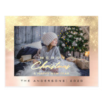 Merry Christmas Tree Happy Year Metal Gold Rose Postcard