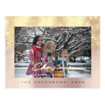 Merry Christmas Tree Happy Year Rose Gold Glitter Postcard