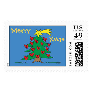 Merry Christmas Tree & Hearts Customizable Stamp