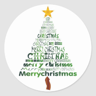 Merry Christmas Tree Holiday Stickers
