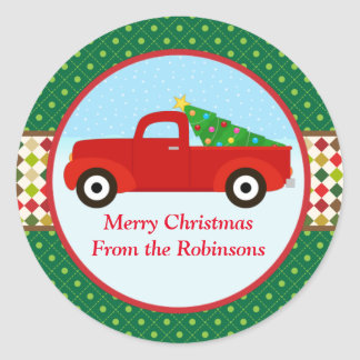 Merry Christmas Tree in a Truck Sticker