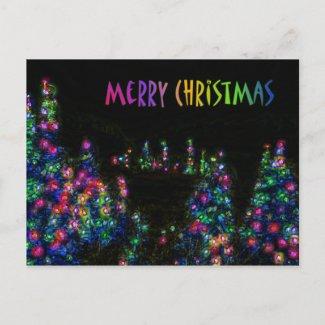 Merry Christmas Tree Lights Postcard postcard