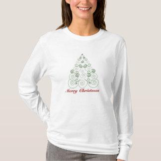 Merry Christmas, tree made of swirls in green T-Shirt