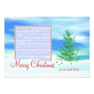 Merry Christmas Tree Morning photo frame Personalized Invitation