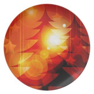 Merry Christmas tree New Year Season's Greetings Dinner Plate