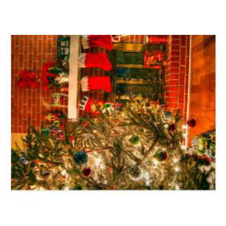 merry christmas tree nut real colors light postcard