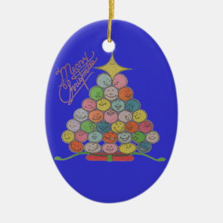 Merry Christmas Tree of Smiling Ornaments
