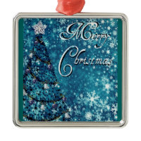 Merry Christmas Tree Square Metal Christmas Ornament