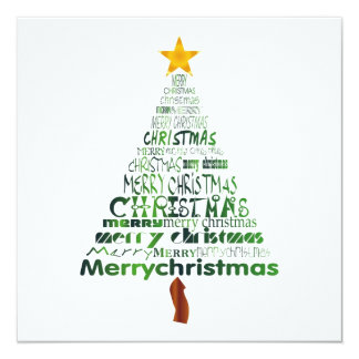 "Merry Christmas Tree Party Invitation 5.25"" Square Invitation Card"