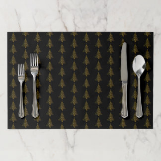 Merry Christmas Tree Pattern Black Gold Elegant Paper Placemat
