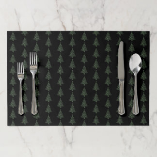 Merry Christmas Tree Pattern Black Green Metallic Paper Placemat
