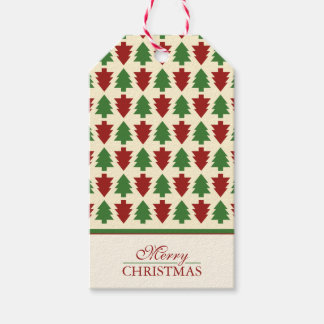 Merry Christmas Tree Pattern Gift Tags