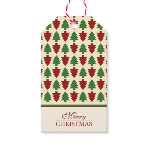 Merry Christmas Tree Pattern Pack Of Gift Tags
