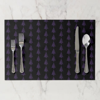 Merry Christmas Tree Pattern Purple Metallic Paper Placemat