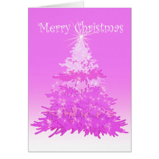 Merry Christmas Tree Pink Card