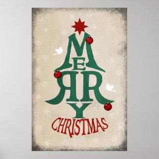 Merry Christmas Tree Poster