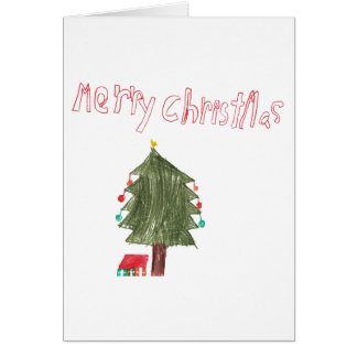 Merry Christmas Tree & Presents Kid Drawing Card