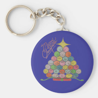 Merry Christmas Tree Quilt Panel Basic Round Button Keychain