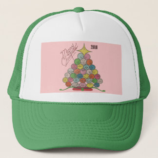 Merry Christmas Tree Quilt Panel Trucker Hat