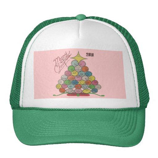 Merry Christmas Tree Quilt Panel Trucker Hat