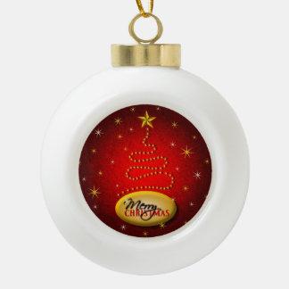 Merry Christmas Tree Red Ceramic Ball Ornament