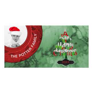 Merry Christmas Tree | Red Green Holiday Photo Card