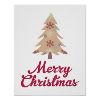Merry Christmas Tree - Red - Poster