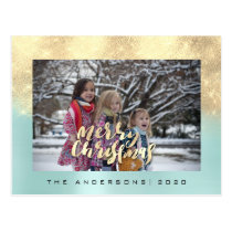 Merry Christmas Tree Rose Gold Aqua Photo Glitter Postcard