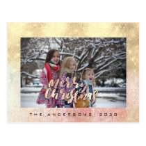 Merry Christmas Tree Rose Gold Pink Photo Glitter Postcard