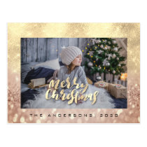Merry Christmas Tree Rose Gold Spark Photo Glitter Postcard