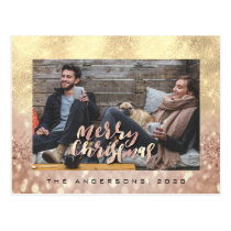 Merry Christmas Tree Rose Gold Wow Photo Glitter Postcard