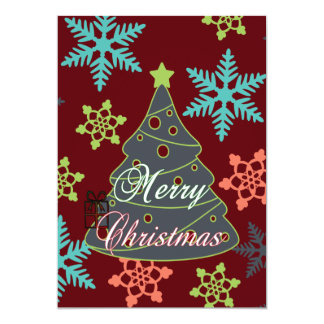 Merry Christmas Tree Snowflakes Holiday Gifts Card