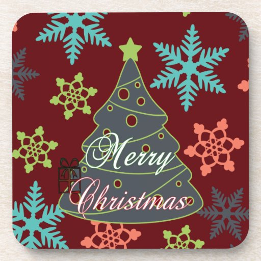 Merry Christmas Tree Snowflakes Holiday Gifts Drink Coaster