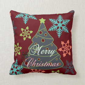 Merry Christmas Tree Snowflakes Holiday Gifts Throw Pillows