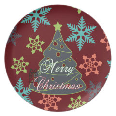 Merry Christmas Tree Snowflakes Holiday Gifts Party Plates