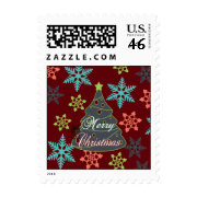 Merry Christmas Tree Snowflakes Holiday Gifts Postage