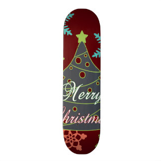 Merry Christmas Tree Snowflakes Holiday Gifts Skateboard Deck