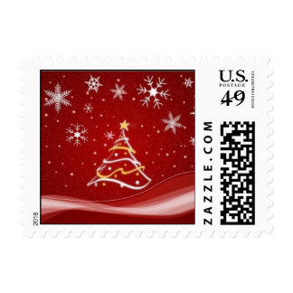 Merry Christmas Tree Snowflakes Stamps