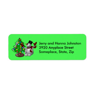 Merry Christmas Tree & Snowman Address Labels