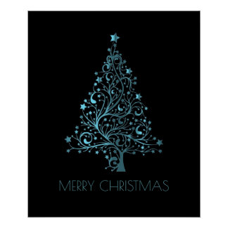 Merry Christmas Tree Stars Blue Metallic Look Poster