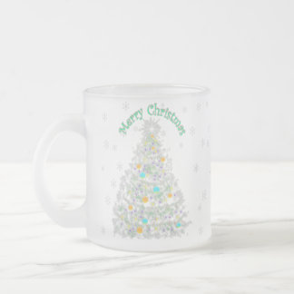Merry Christmas Treetransparent background Frosted Glass Coffee Mug