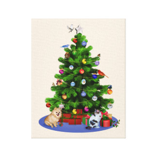 Merry Christmas Tree with Birds, Butterflies, Dog Canvas Print