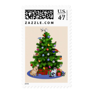 Merry Christmas Tree with Birds, Butterflies, Pets Postage