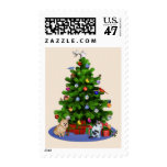 Merry Christmas Tree with Birds, Butterflies, Pets Postage Stamp