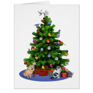 Merry Christmas Tree with Birds, Cat, Dog Greeting Cards