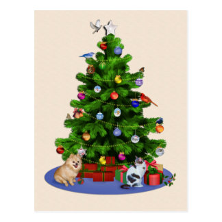 Merry Christmas Tree with Birds, Cat, Dog Postcard